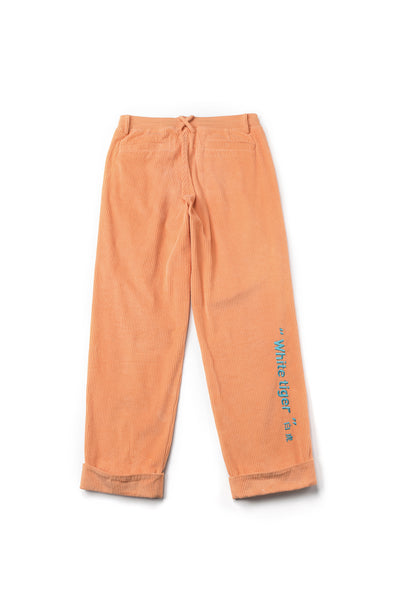Embroidered Corduroy Orange Track Pants With White Lettering