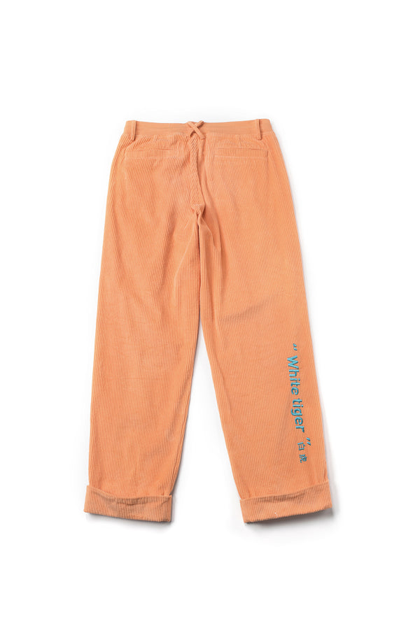 EMBROIDERED CORDUROY ORANGE TRACK PANTS WITH WHITE LETTERING - INXX USA