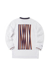 Striped White Half Zip Hoodie With Back Logo - INXX USA