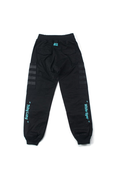 Black Striped And Embroidered Jogger Pants