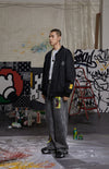 "INXX ""Grafflex"" 8bit Smiley Face Bomber Jacket Black"