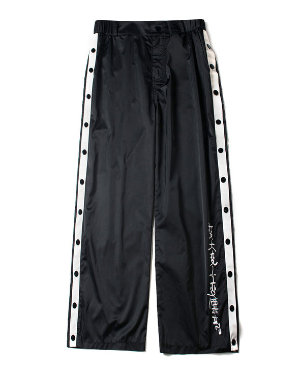 BLACK NYLON BUTTON SEAM TRACK PANTS - INXX USA