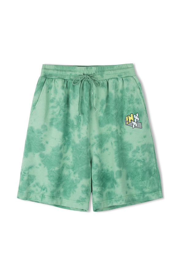 "INXX ""Grafflex"" 8bit Smiley Face Tie Dye Shorts Green"