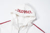 STRIPED WHITE ZIP HOODIE WITH LOGO PATCH - INXX USA