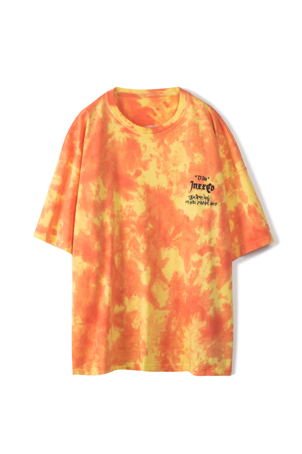 ORANGE TIE-DYE COTTON T-SHIRT - INXX USA