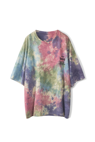 PURPLE TIE-DYE COTTON T-SHIRT - INXX USA