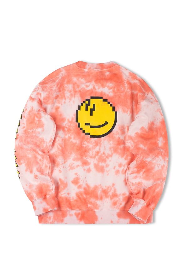 "INXX ""Grafflex"" 8bit Smiley Face Tie Dye Longsleeve Orange"