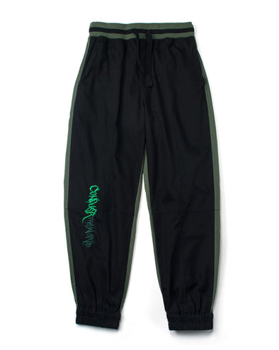 GREEN AND BLACK TWILL JOGGERS - INXX USA