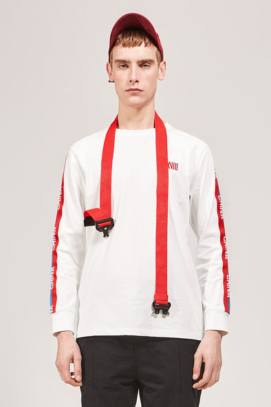 WHITE LONG SLEEVE JERSEY WITH STRIPED SLEEVES - INXX USA