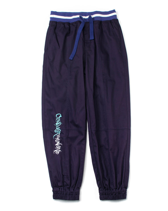 PURPLE EMBROIDERED TWILL JOGGERS - INXX USA