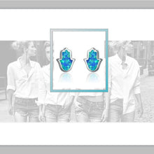 Blue Fire Opal Hamsa Silver Stud Earrings