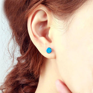 Blue Fire Opal Round Silver Stud Earrings