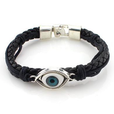 Evil Eye Braided Leather Bracelet