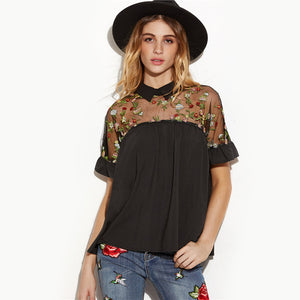 Flower Embroidered Sheer Neck Blouse