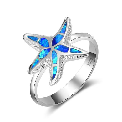 Blue Fire Opal Starfish Silver Ring