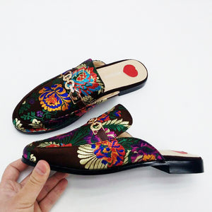 Silk Embroidered Mule