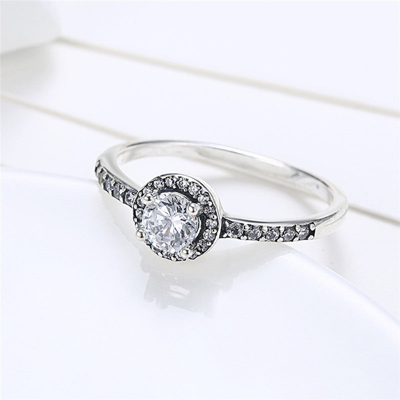 Solitaire Silver Pave Ring
