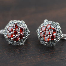 Vintage Red Flower Silver Stud Earrings