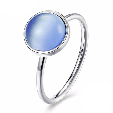 Silver Sky-Blue Moonlight Ring