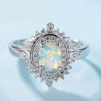 Oval Opal Silver Ring