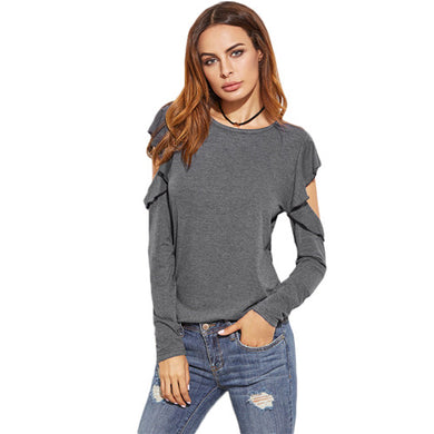 Casual Ruffled Cold Shoulder Top