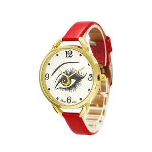 Eye Pattern PU Leather Watch