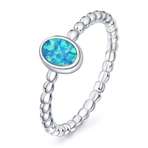 Blue Fire Opal Oval Ring