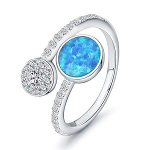 Blue Fire Opal Open Ring