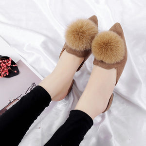 Pom Pom Flat Pointed Toe Slide