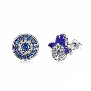 Modern Hand of Fatima Hamsa & Evil Eye Earrings