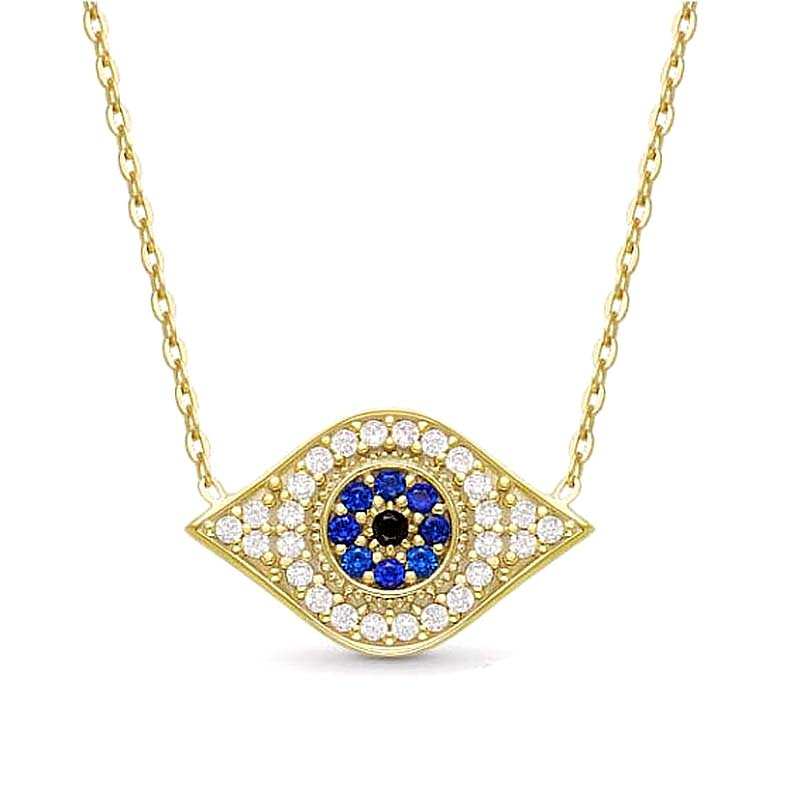 Hamsa Hand of Fatima Blue Eye Pendant