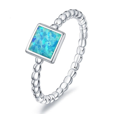 Blue Fire Opal Square Silver Ring