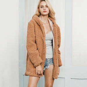 Faux Fur Hooded Lamb Coat