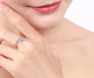 Blue Fire Opal Star Silver Ring