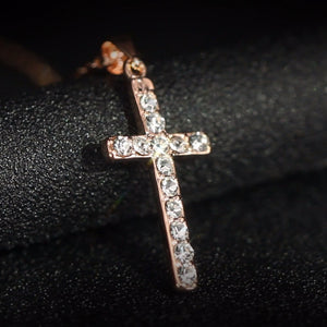Classic design White/Rose gold plating zircon cross necklace