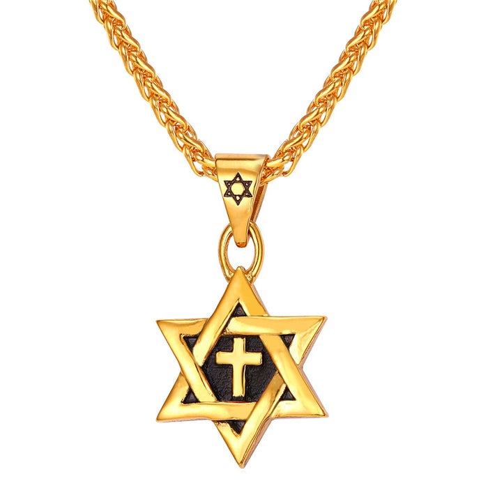 Star of David Cross Pendant Charm Necklaces Jewish Stainless Steel Gold Color