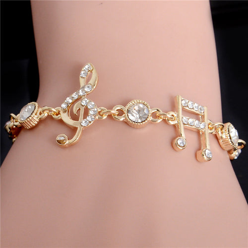 Gold Color Music Notes Czech Crystal Ladies Bangle Bracelets