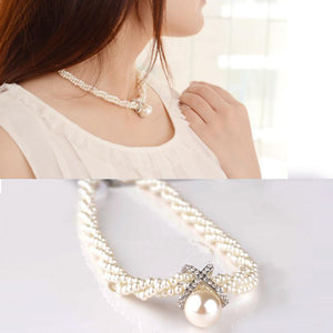 Choker Chunky Simulated Pearl Necklace