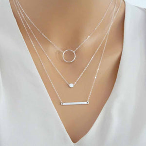 Fashion Wild Aperture Metal Rods Necklace Gold  Silver Layered Necklace
