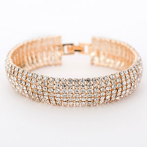 Gold/Silver || Link Bracelet Bangle Fashion Full Rhinestone