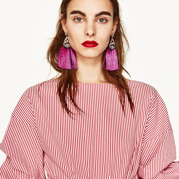 Tassel Drop Earrings Dangle Fringe Handmade
