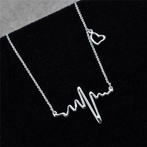 Silver Electrocardiogram Pendant Necklace Heartbeat Heart Rhythm