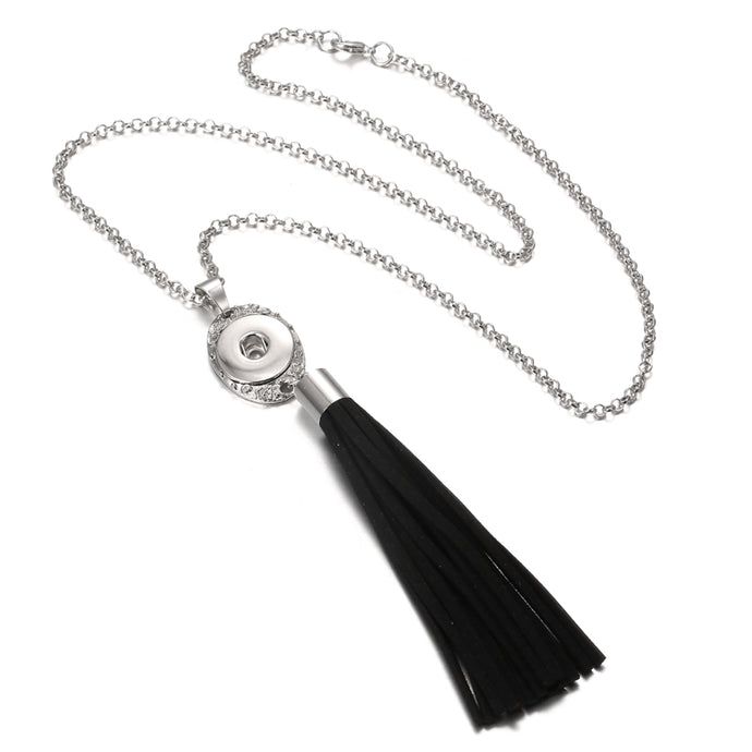 New Tassel Snap Necklace 18mm Metal Snap Pendant Necklace with Chains Watches