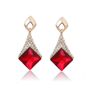 Geometric Square Crystal Earring