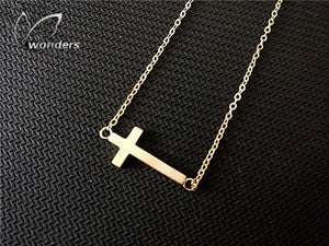 Crucifix Jesus Christian Jewelry Gold Color Cross Pendant Necklace Prayer Christ Mens Women Girl Kids Stainless Steel Chain