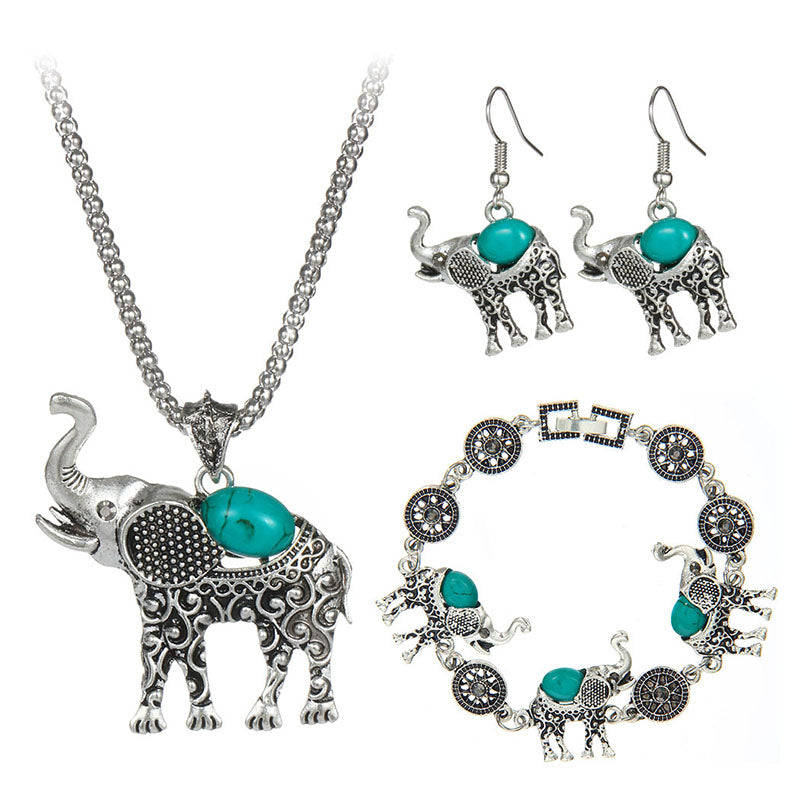 Green/Red/Black Blue Stone Jewelry Vintage Cute Elephant Necklace ...