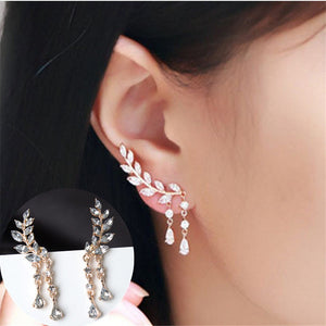 CRYSTAL LEAVES EAR CUFFS CLIMBER EARRINGS