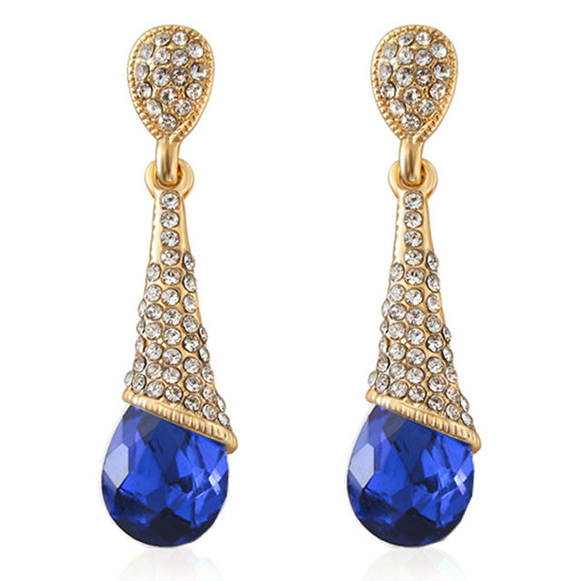 Austrian Long Blue Crystal Earrings Colorful Fancy Water Drop Earrings
