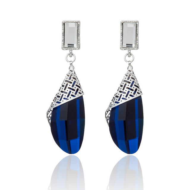 Blue Crystal Long Earrings Luxurious Colorful Big Silver Earrings