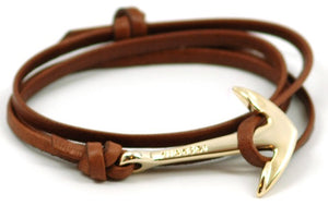 Gold Anchor Braided Brown Leather Bracelet